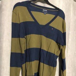 Tommy Hilfiger vneck sweater XL Navy and Olive